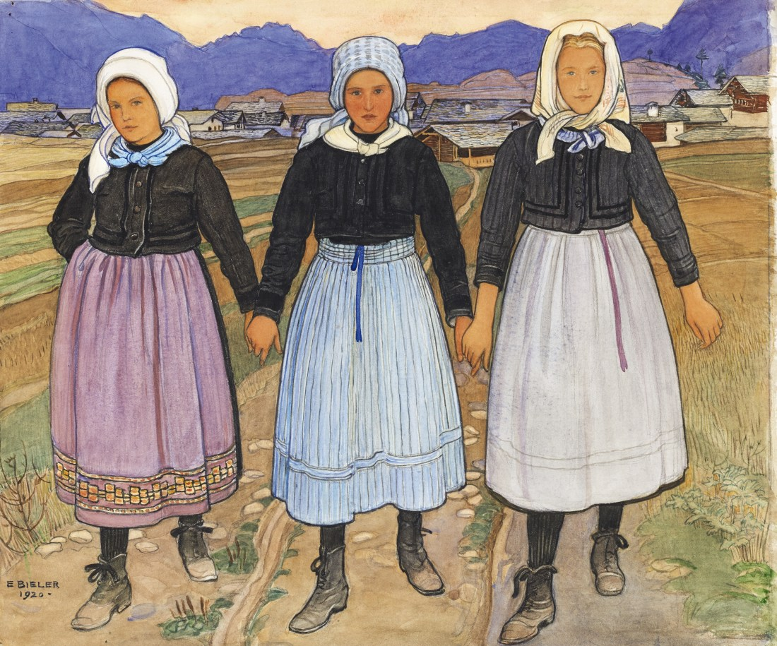 Trois Jeunes Filles de Granois (Three Young Girls of Granois), a 1920 work on paper by Swiss artist Ernest Biéler.