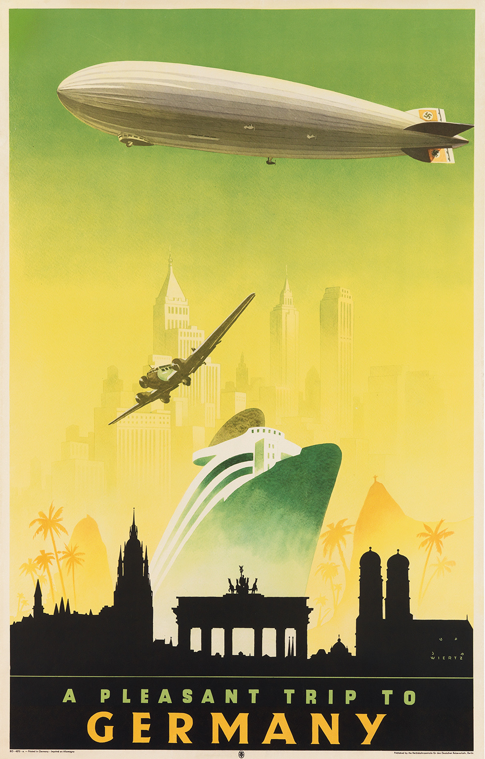 A Pleasant Trip to Germany, a travel poster created circa 1935 by Jupp Wiertz.