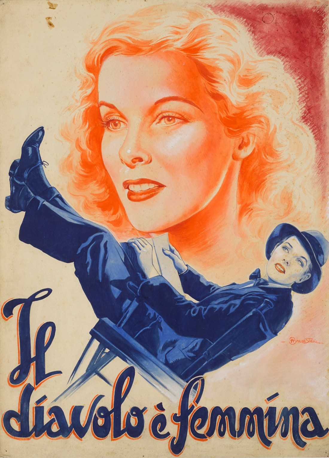 Original gouache and pencil artwork by Anselmo Ballester for a mid-1930s Italian movie poster for Sylvia Scarlett, a 1935 film starring Katharine Hepburn and Cary Grant.