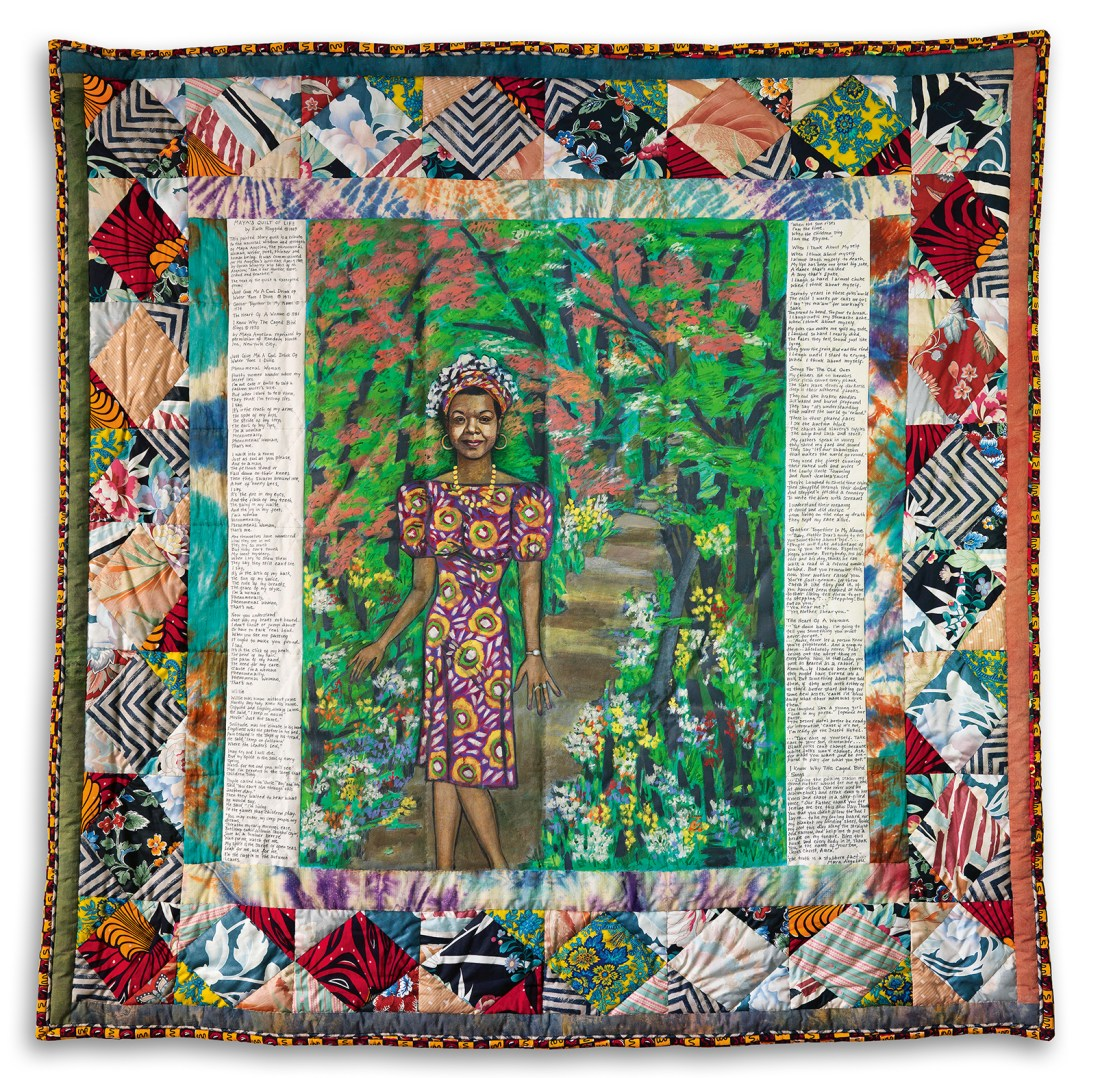 Maya's Quilt of Life, a 1989 narrative quilt by artist Faith Ringgold, who Oprah Winfrey commissioned to make it as a birthday gift for Dr. Maya Angelou. At Swann Auction Galleries in 2015, it sold for $461,000--a record for a narrative quilt by the artist.