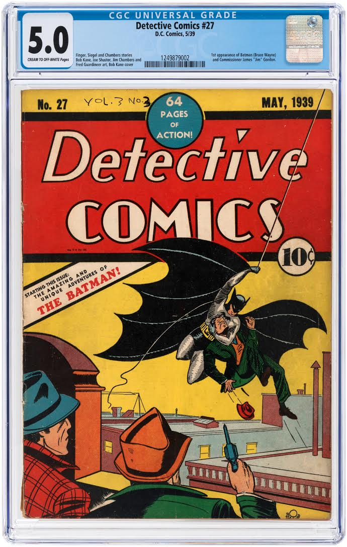 A May 1939 copy of Detective Comics #27, which featured the debut of Batman. It has a Certified Guaranty Company (CGC) universal grade of 5.0.