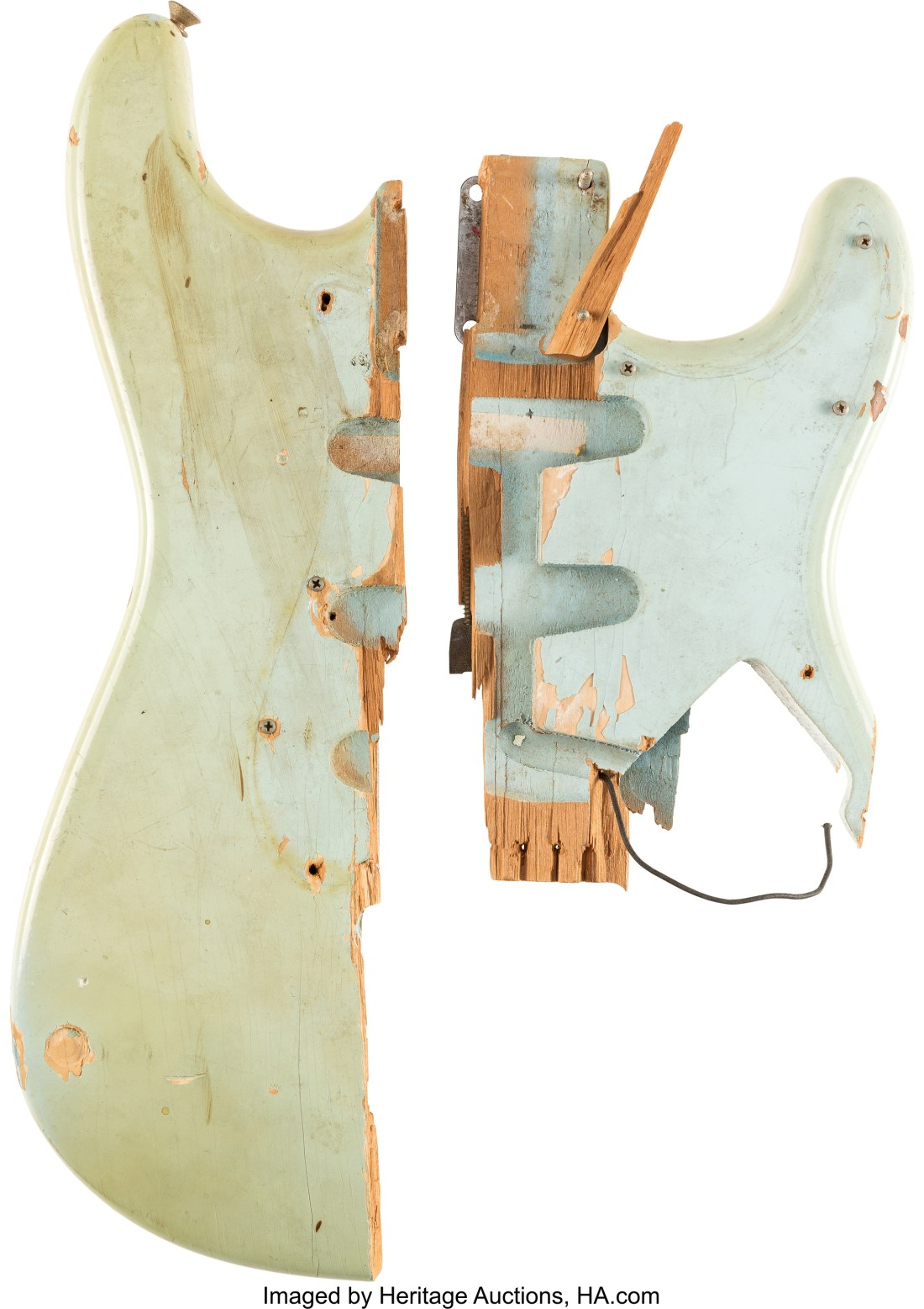 """A 1964 sonic blue Fender Stratocaster """"smasher,""""--a guitar played on stage and smashed by Pete Townshend of The Who--on December 1, 1967 at Long Island Arena in Commack, New York."""