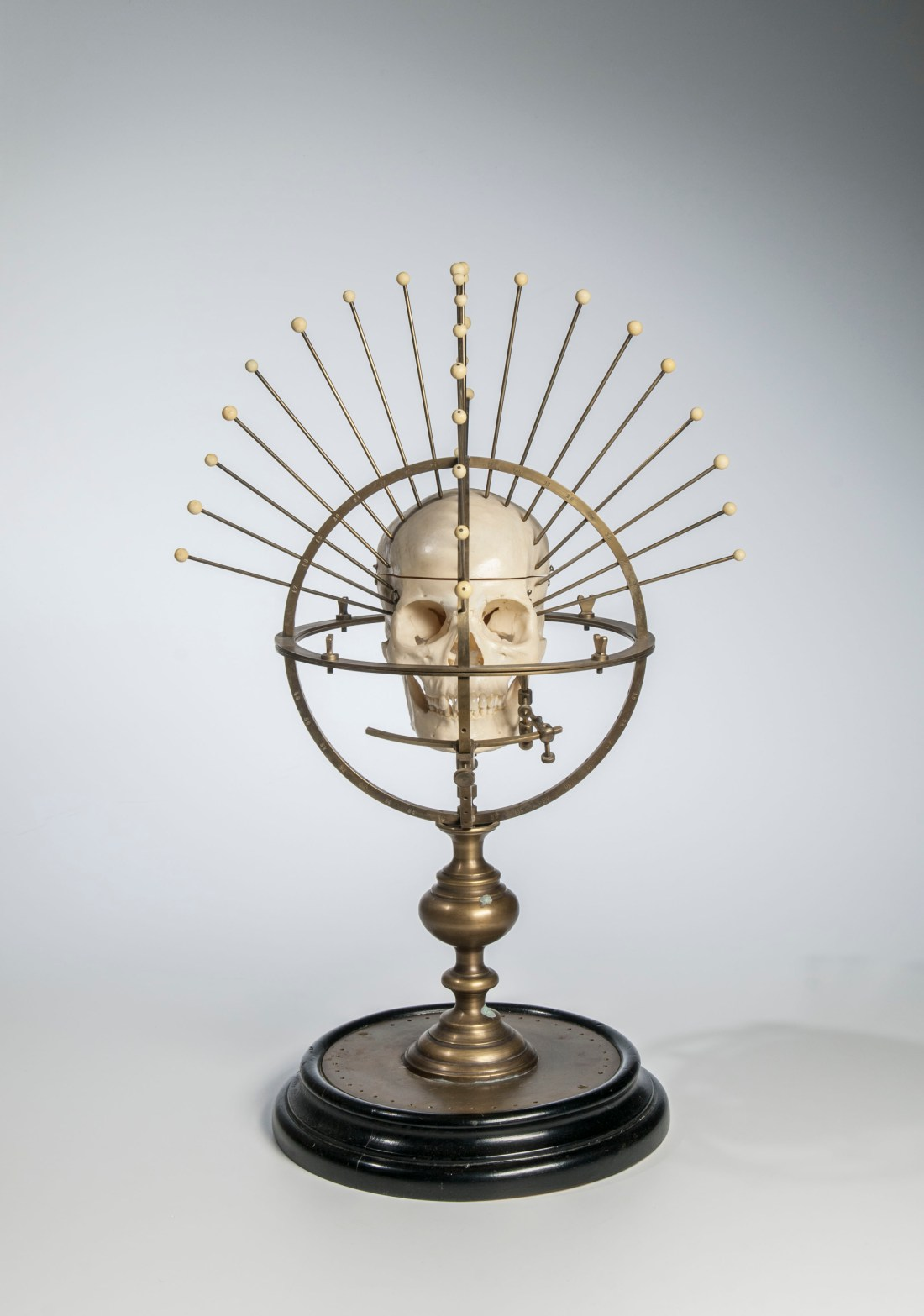A lacquered brass craniometer, made in the late 19th century by the German company C.F.H. Heineman.
