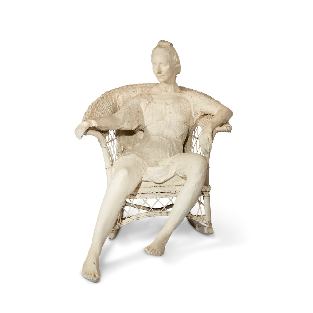 Woman in White Wicker Rocker, a 1985 limited edition bronze by George Segal.
