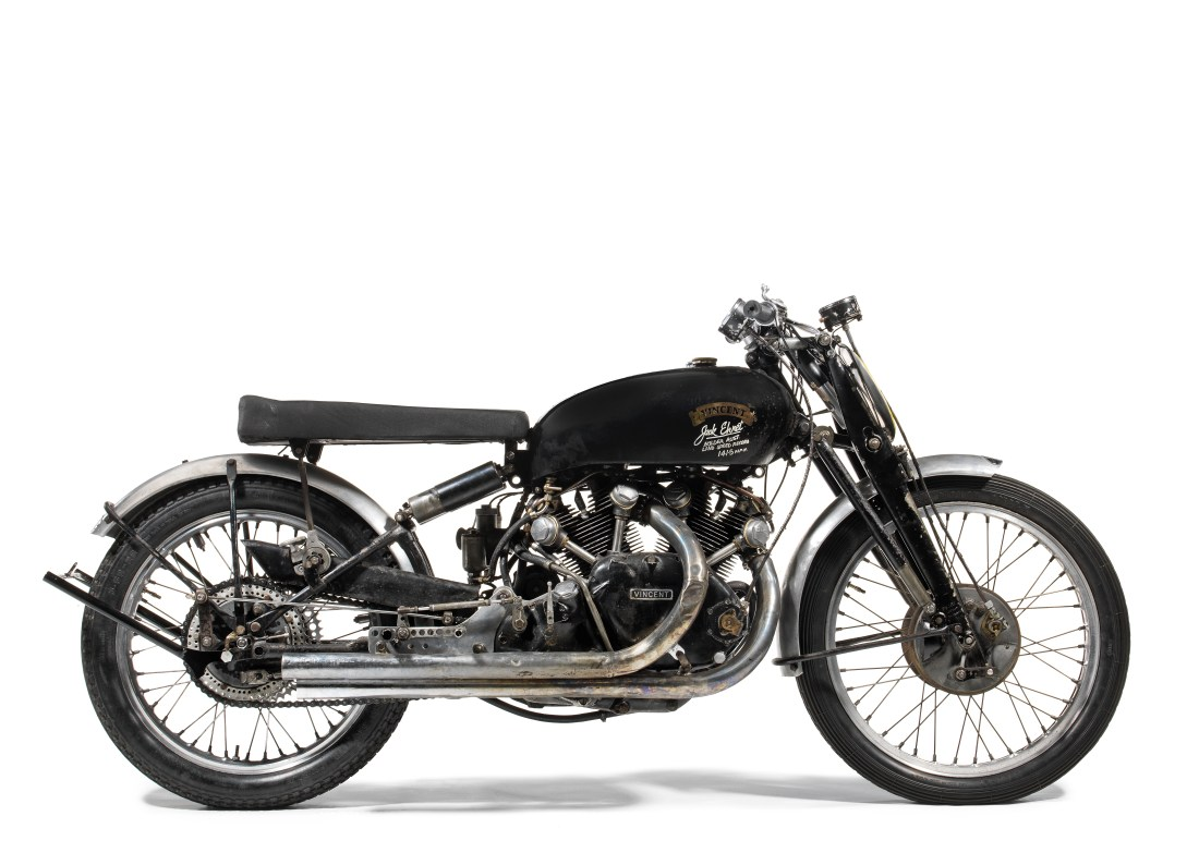 A 1951 Vincent Black Lightning motorcycle, one of 19 with full matching numbers [same numbers on both the frame and the engine]. Bonhams sold it in Las Vegas in January 2018 for $929,000--a record for any motorcycle at auction.