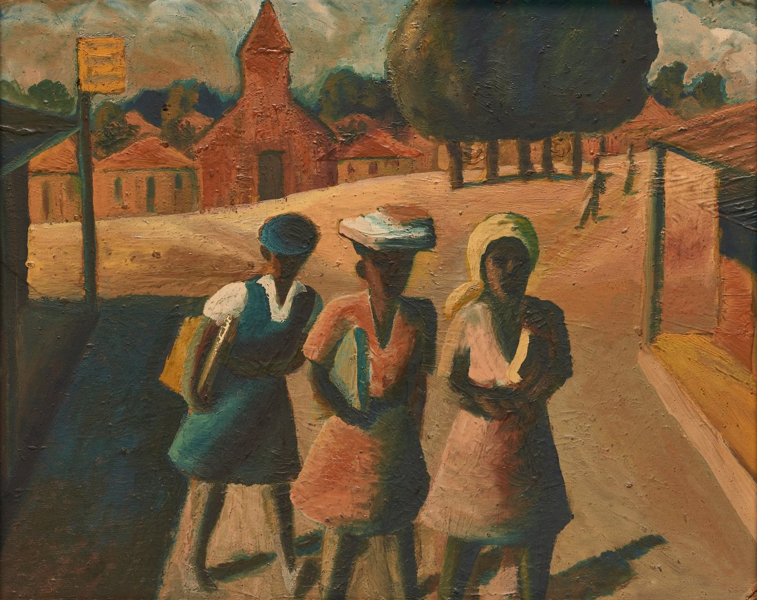 Three School Girls, an oil on board painted by South African artist Gerard Sekoto sometime between 1940 and 1947.
