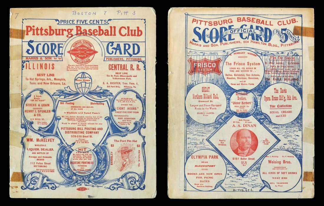 The front and back cover of a 12-page 1903 World Series program, printed for and sold during the championship games held in Pittsburgh.