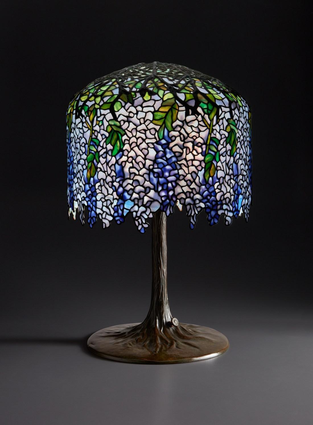 "A ""Wisteria"" table lamp by Tiffany Studios, circa 1905."