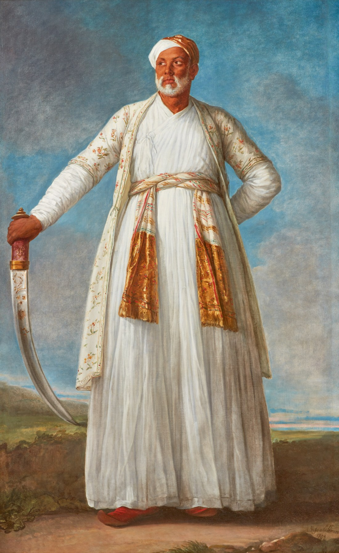 Vigee le Brun's 1788 portrait of Muhammad Dervish Khan depicts him at full length, outdoors, against a clouded blue sky. He's clad mostly in white, and he looks to the right. Long robes reach to his ankles, and a shorter robe, decorated with flowers, covers his upper arms and extends to his knees. He has a length of cloth braided around his waist, acting as a belt. The gold-decorated ends of the cloth drape over his front. He wears a gold and white turban. He rests his right hand on the hilt of a curved sword.