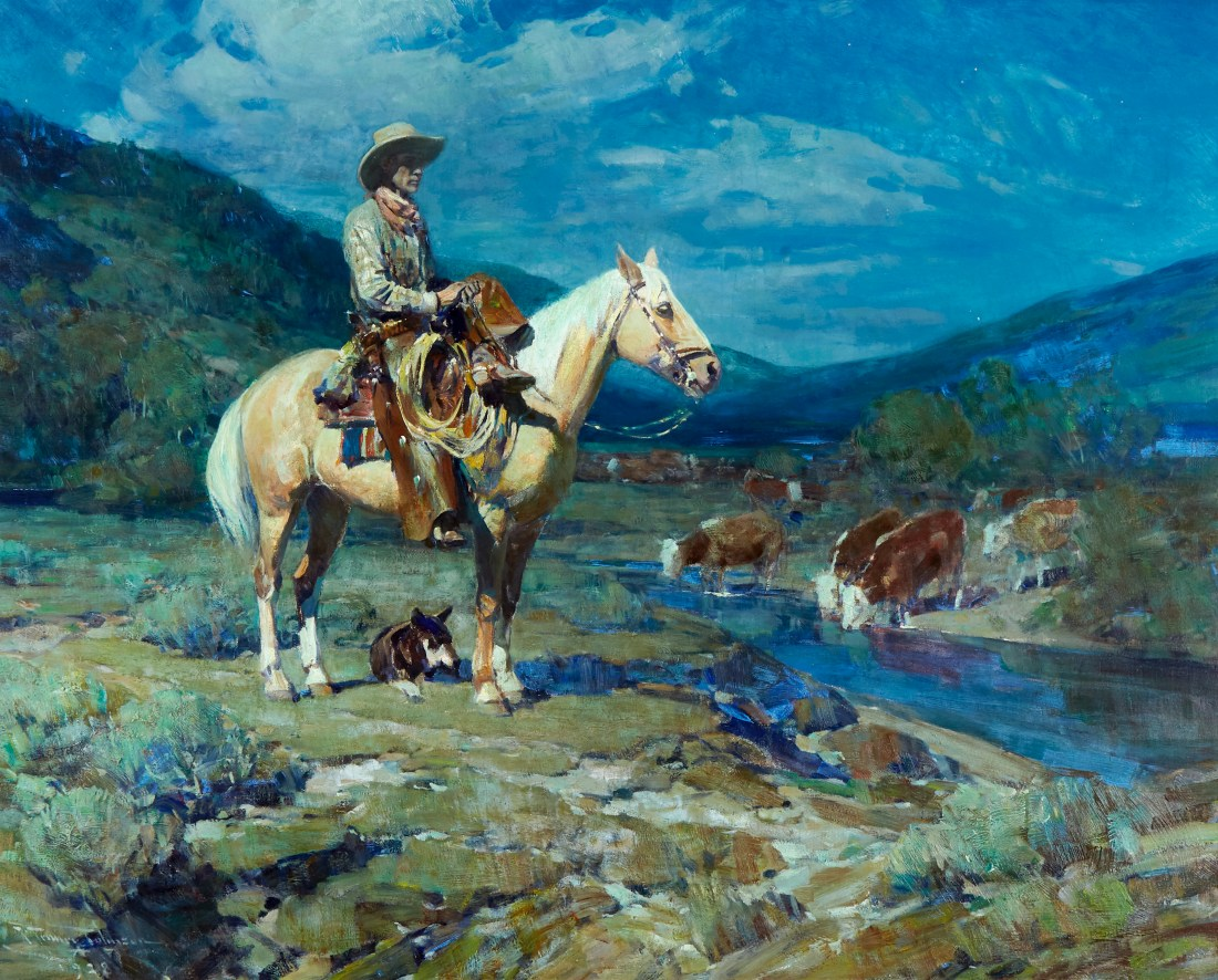 A portrait of Alphonzo Bell painted in 1928 by Frank Tenney Johnson. It features the man in Western-style clothing (hat, chaps, boots) atop a cream-colored horse. Cattle are in the background, some drinking from a stream. The landscape is majestic, with rolling hills and suggestions of plants.