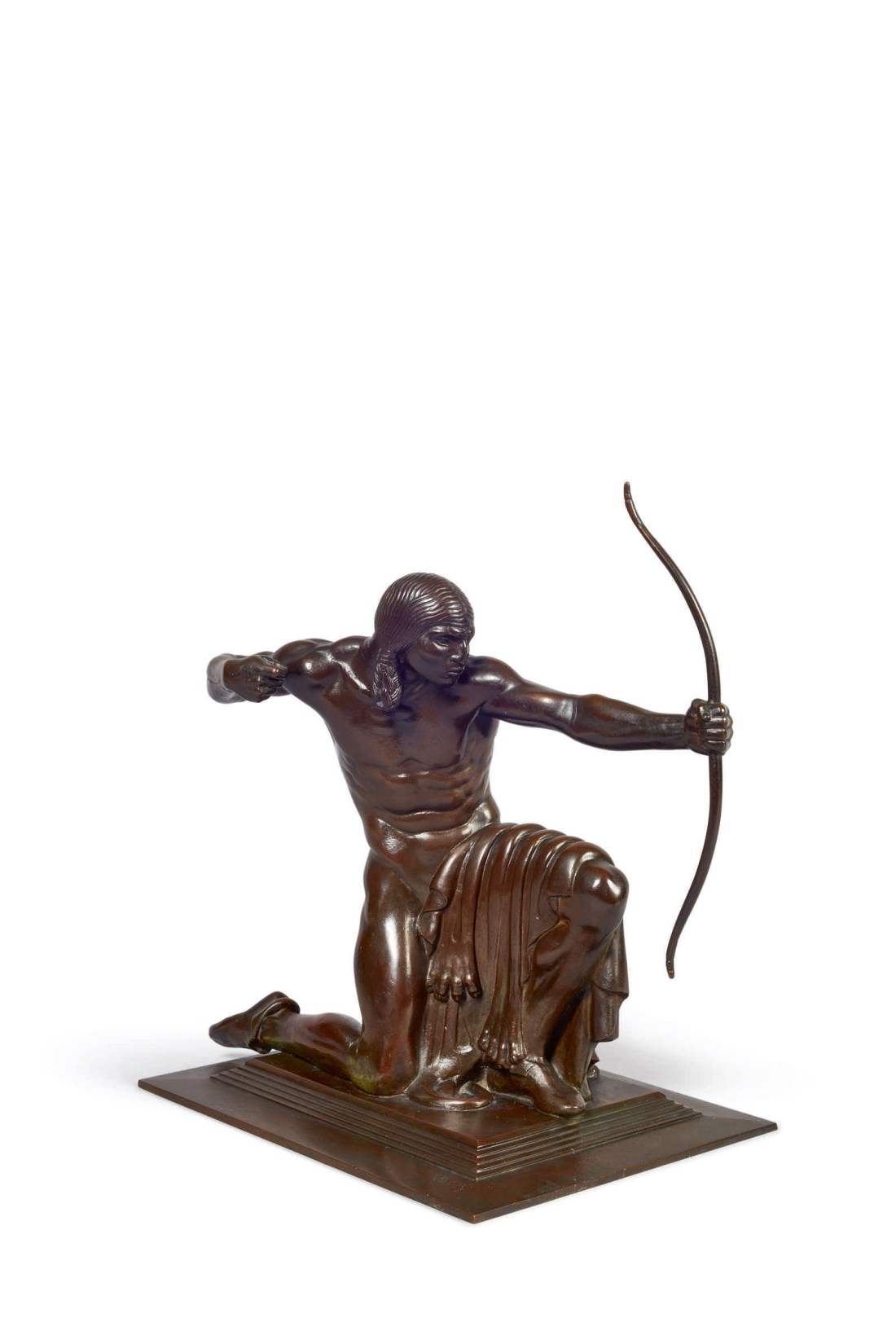 Indian Hunter, a 1914 bronze by Paul Manship, depicts a Native American down on one knee, pulling back the string of his bow. His face is serious and focused.