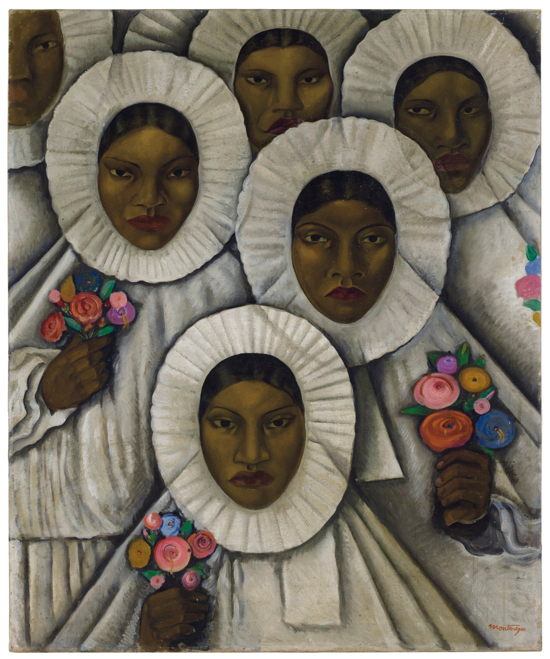 "Roberto Montenegro's ""Untitled (Tehuanas in Traditional Huipil Grande Headdresses)"" features at least six Mexican women in regional dress that frames their faces in white rings of cloth. They carry colorful bouquets. Though they are dressed identically in white, each woman is individual and distinct. All are somber; none smile."