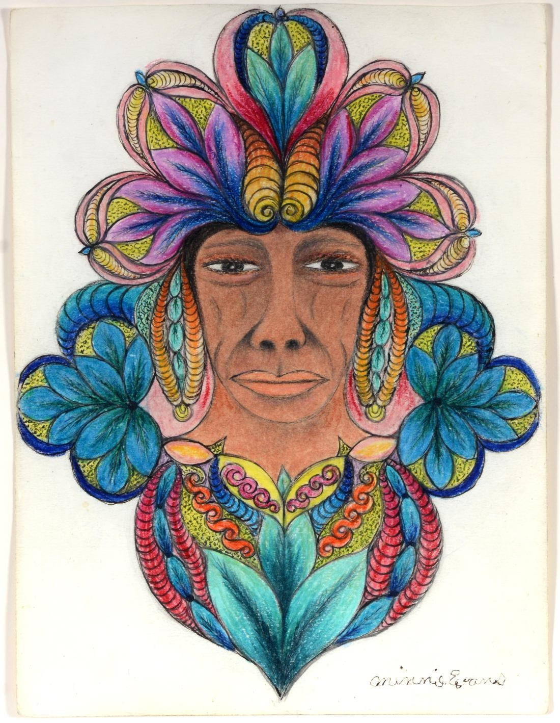 A circa 1960s portrait by Minnie Evans shows a copper-colored face of indeterminate gender crowned with an elaborate, colorful headdress and surrounded by flourishing plants.