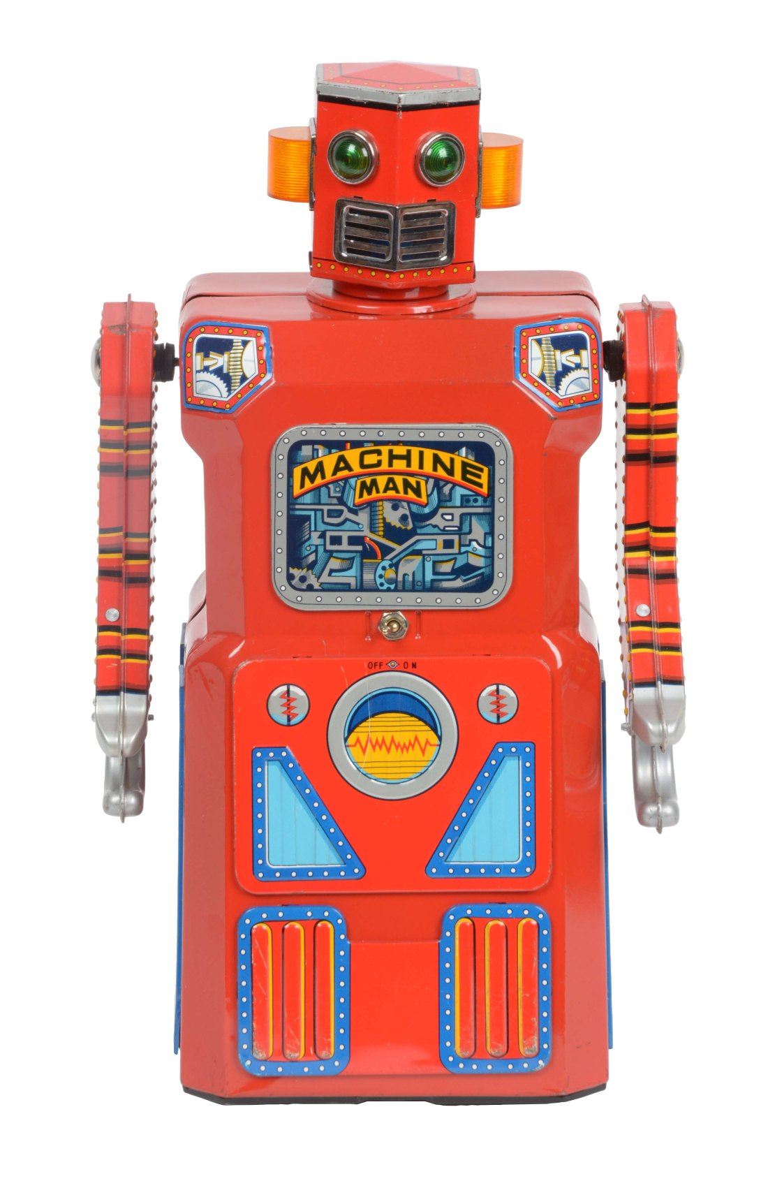 A bright red tin lithographic Machine Man robot toy, circa 1960, the rarest of the Japanese robot toys known as the Gang of Five.