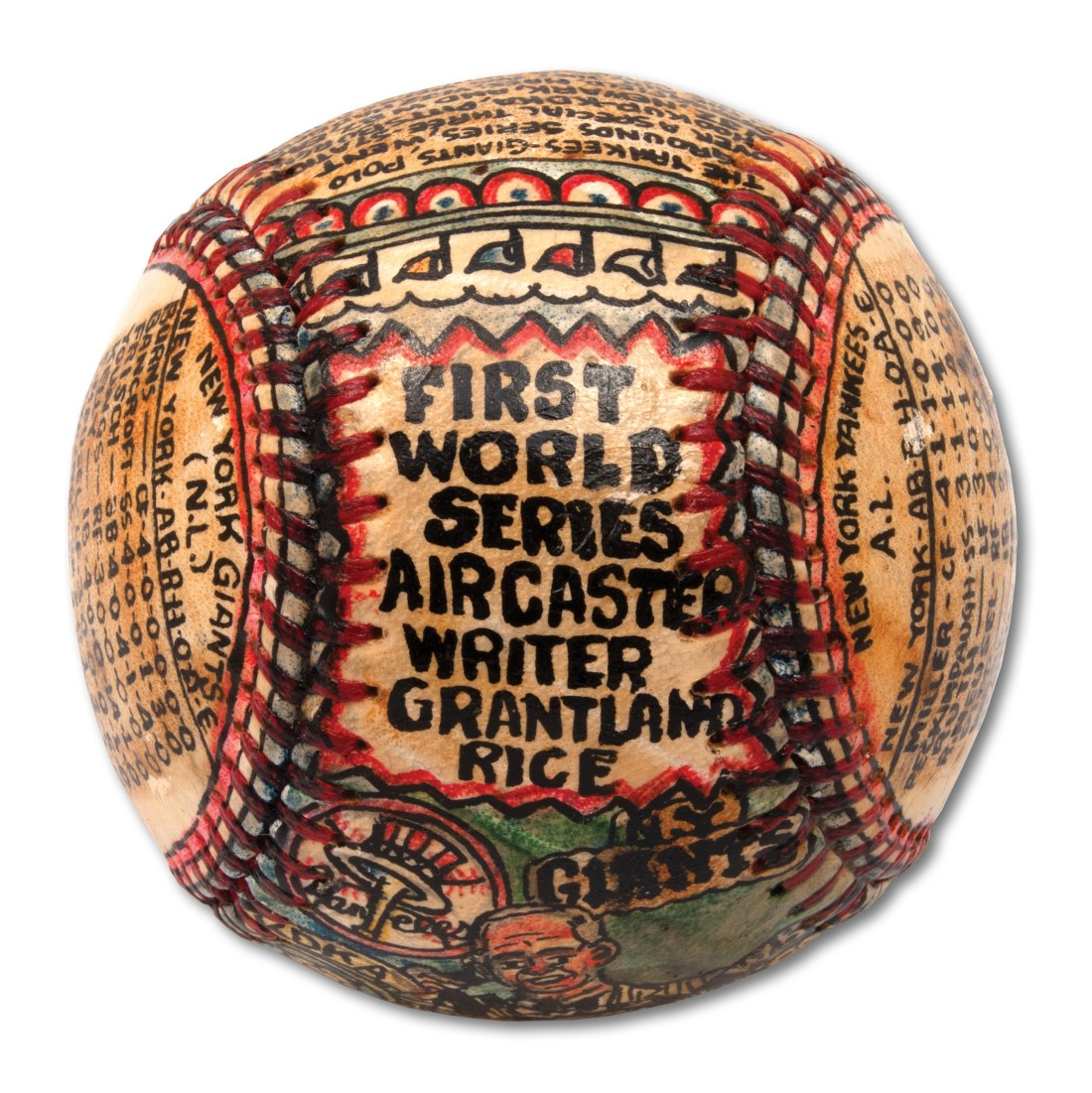 "A baseball transformed by self-taught artist George Sosnak. This angle showcases the words ""First World Series Aircaster Writer Grantland Rice."""