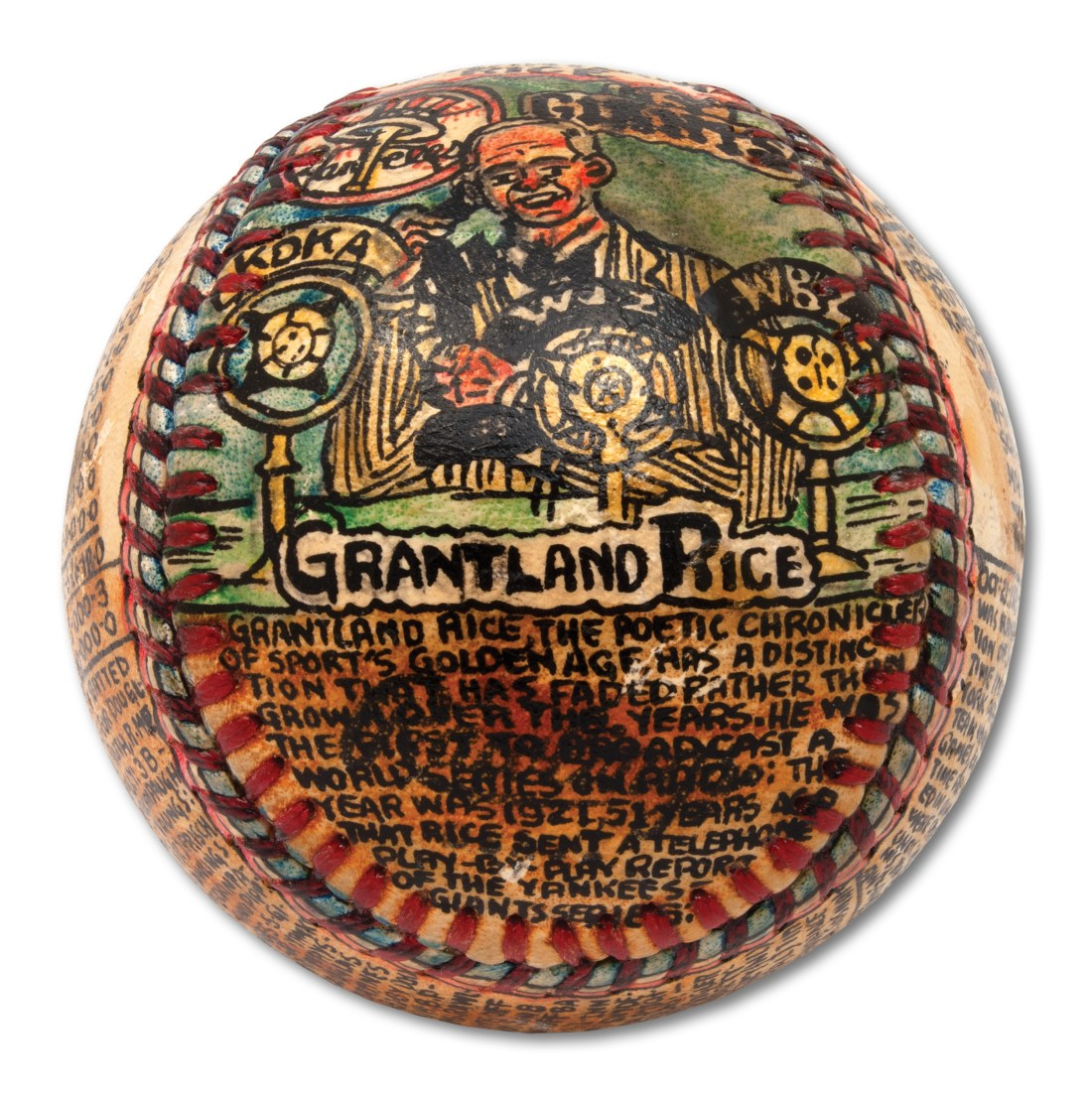 A baseball transformed by self-taught artist George Sosnak. This angle showcases his portrait of Grantland Rice broadcasting the 1921 World Series over the telephone system.