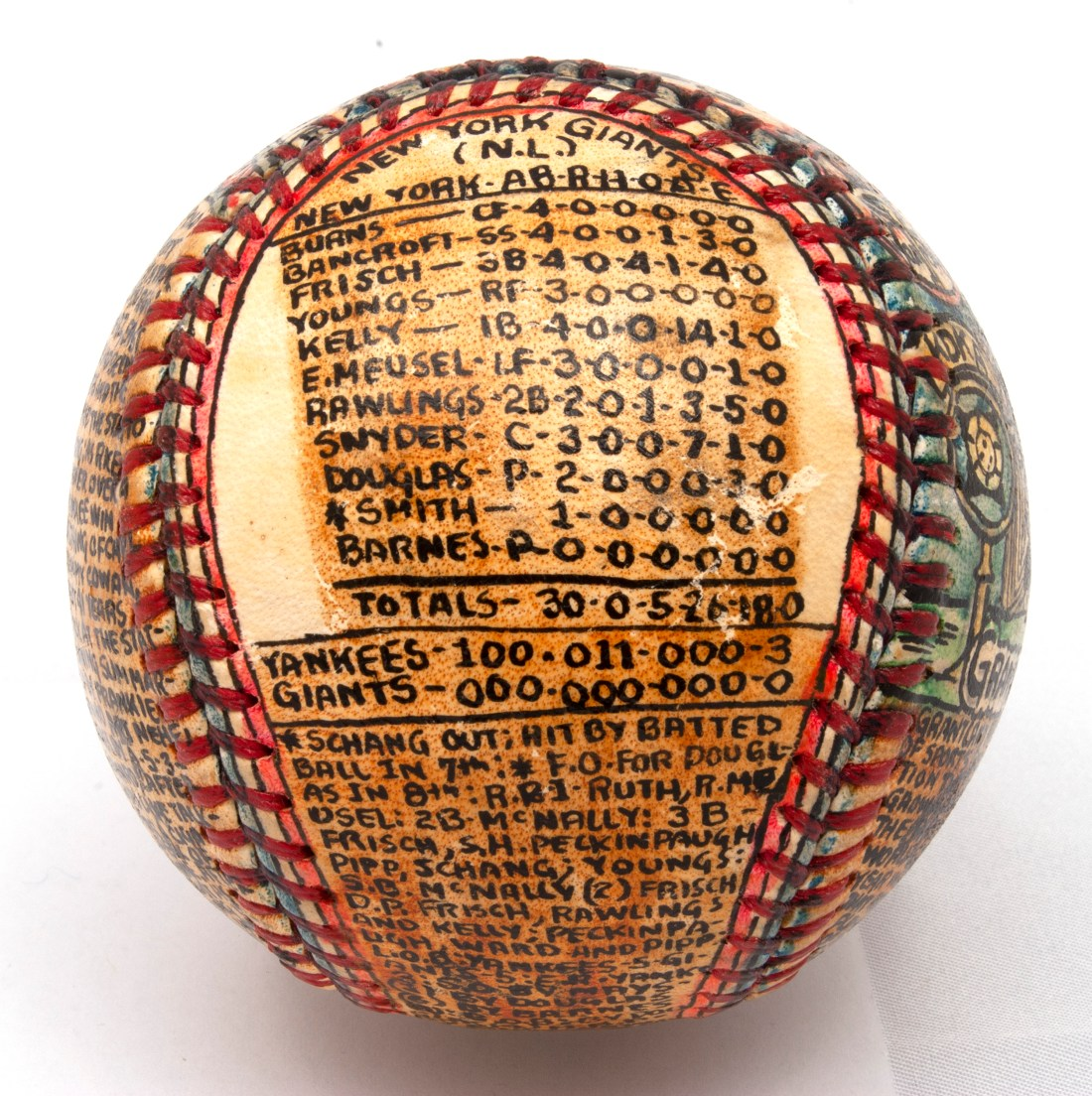 Another angle on the baseball transformed by self-taught artist George Sosnak, showing statistics and facts about the 1921 World Series between the Yankees and the Giants.