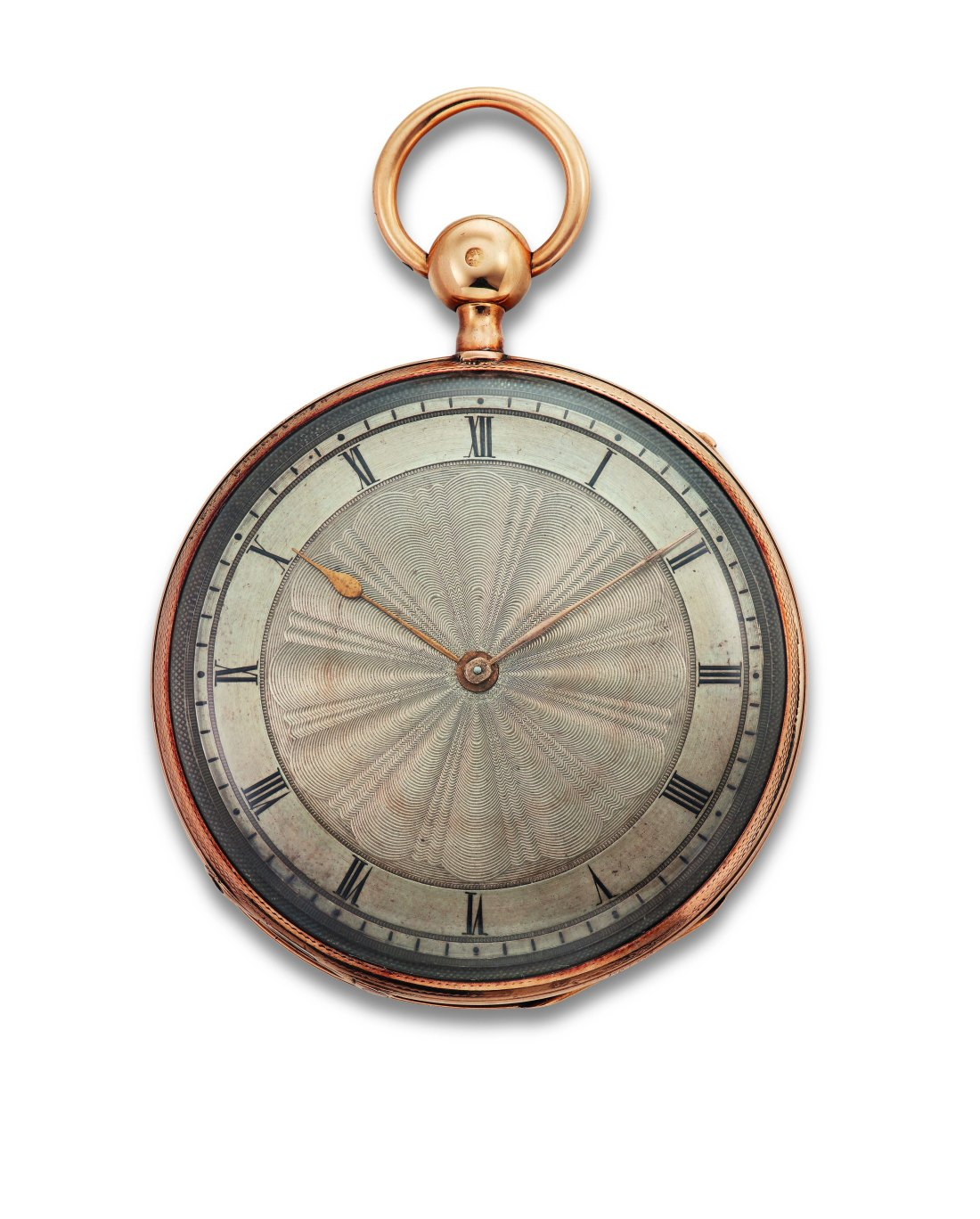Front view of Edgar Allan Poe's 18-karat gold pocket watch, showcasing its handsome dial.
