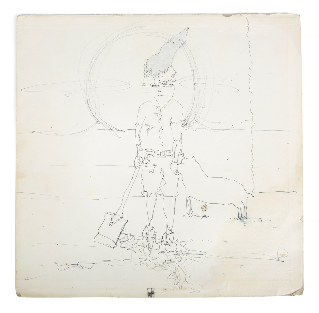"Lennon did a sketch of a boy with a shovel and a dog on a blank area of his copy of the Beatles ""Butcher"" album cover."