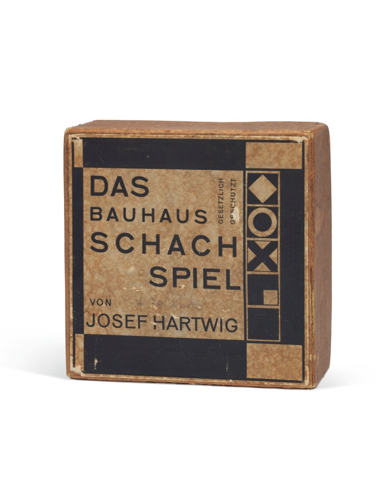 The original box that comes with the Bauhaus chess set, which originally belonged to Walter Gropius.