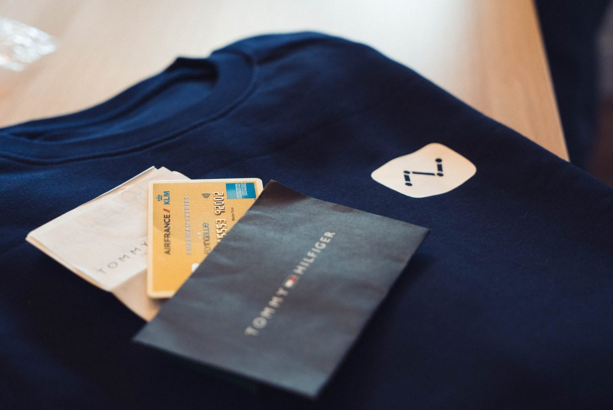 Credit card, blue sweater
