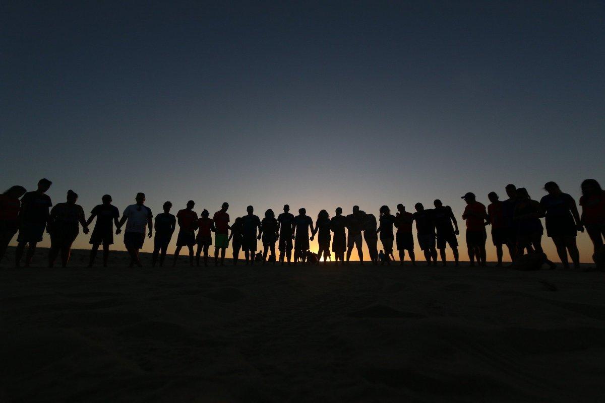 Friends, sunset