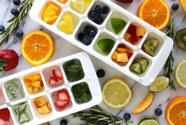Ice tray, fruit, veggies