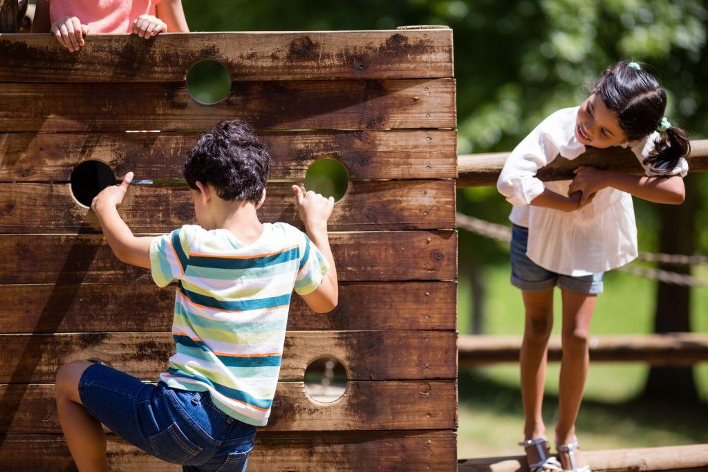 Wooden climbing wall, children