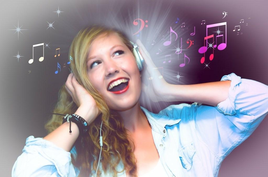 Feeling down, girl listening to music