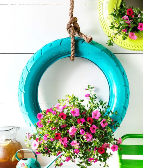 Old tire, planter