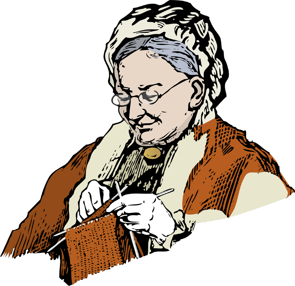 Granny, knitting