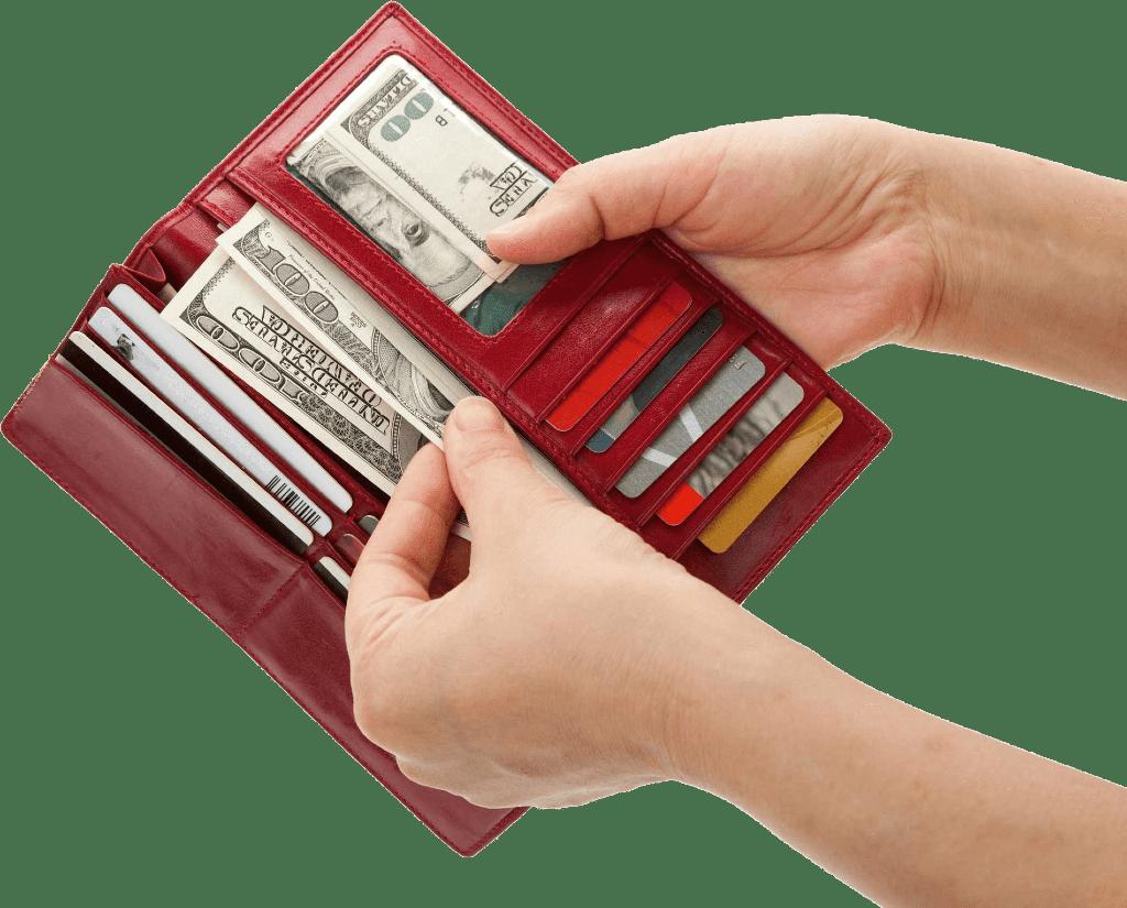 Wallet, cash, cards