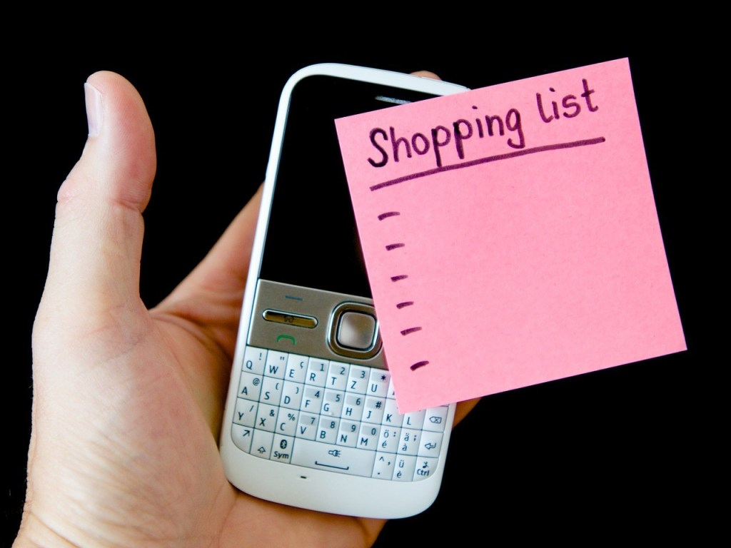 Cell phone, shopping list