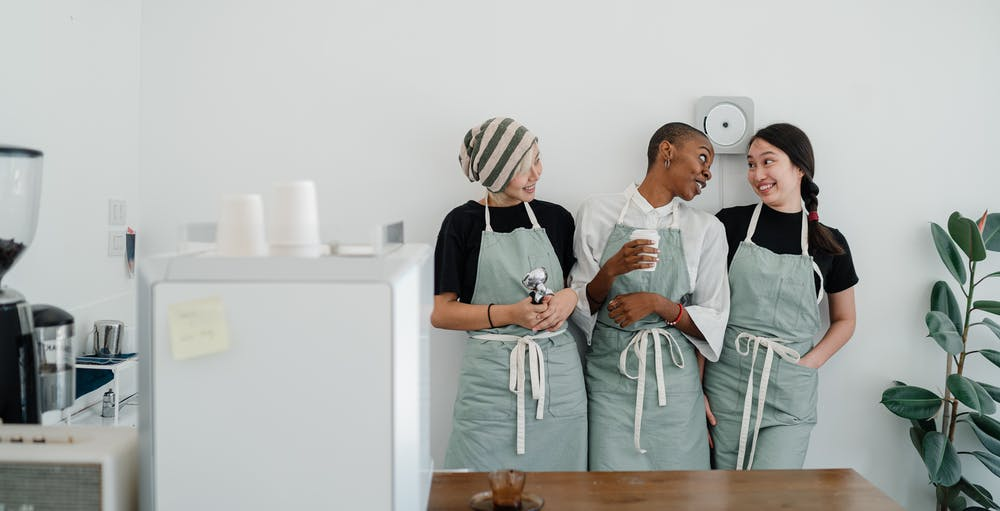 workplace, kitchen workers chatting