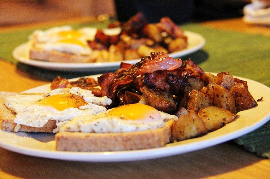 High calories breakfast