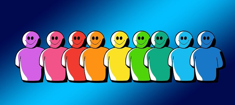 row of different colored cartoon smiley people