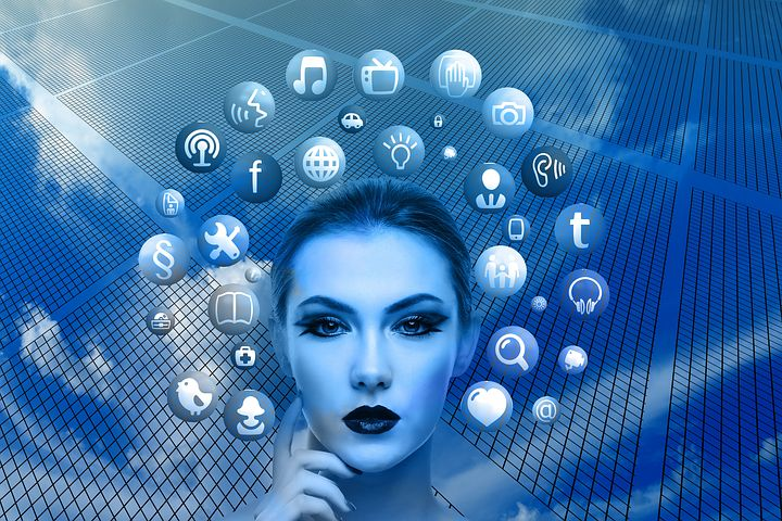 social media friend, woman's face surrounded by social media icons, blue background