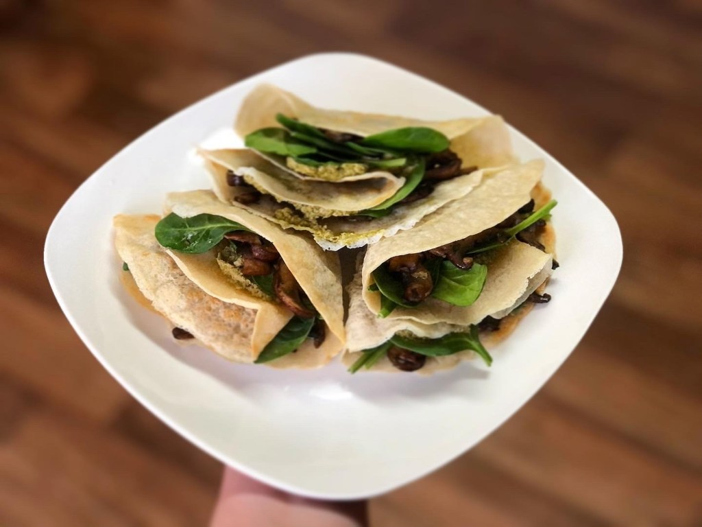 Evolving Vegan, Mushroom and Spinach Crepes