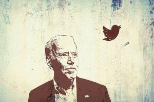 Joe Biden, sketch of Biden with tiny bird nearby