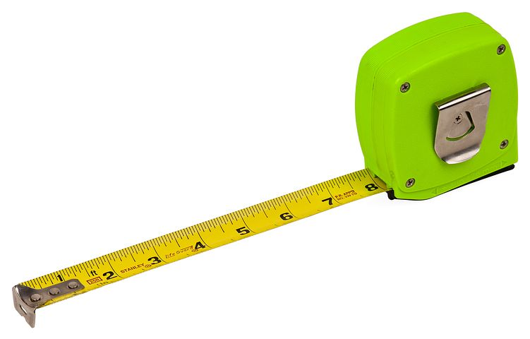 yellow measuring tape in neon green case