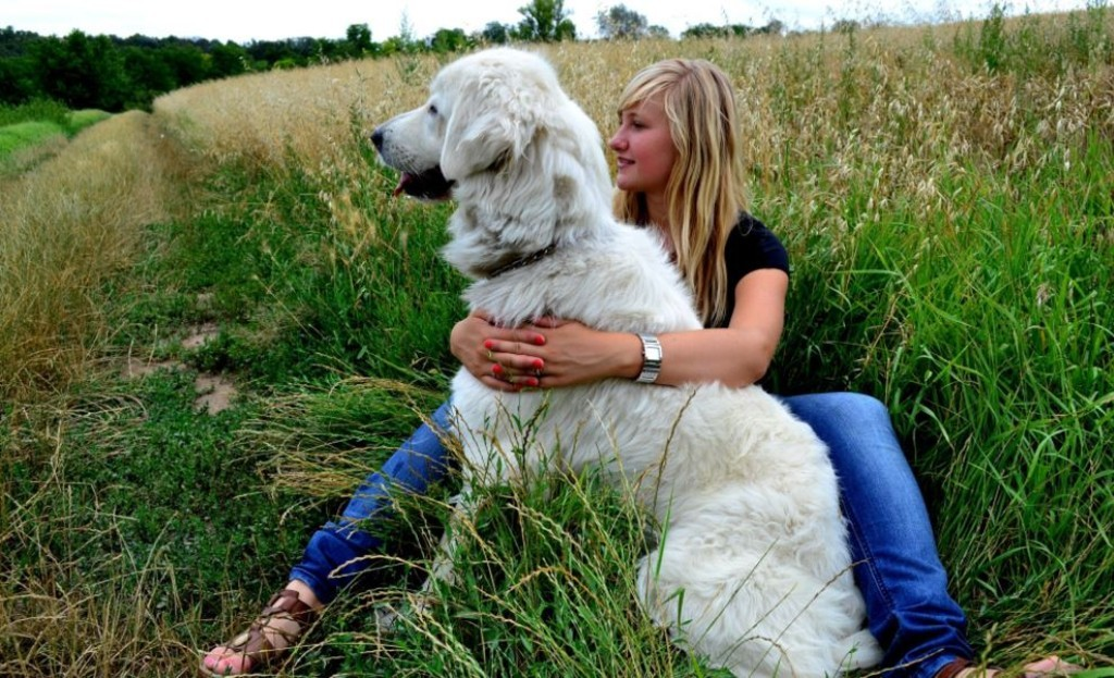 Woman and large dog