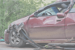 avoid collision, maroon car with severe damage
