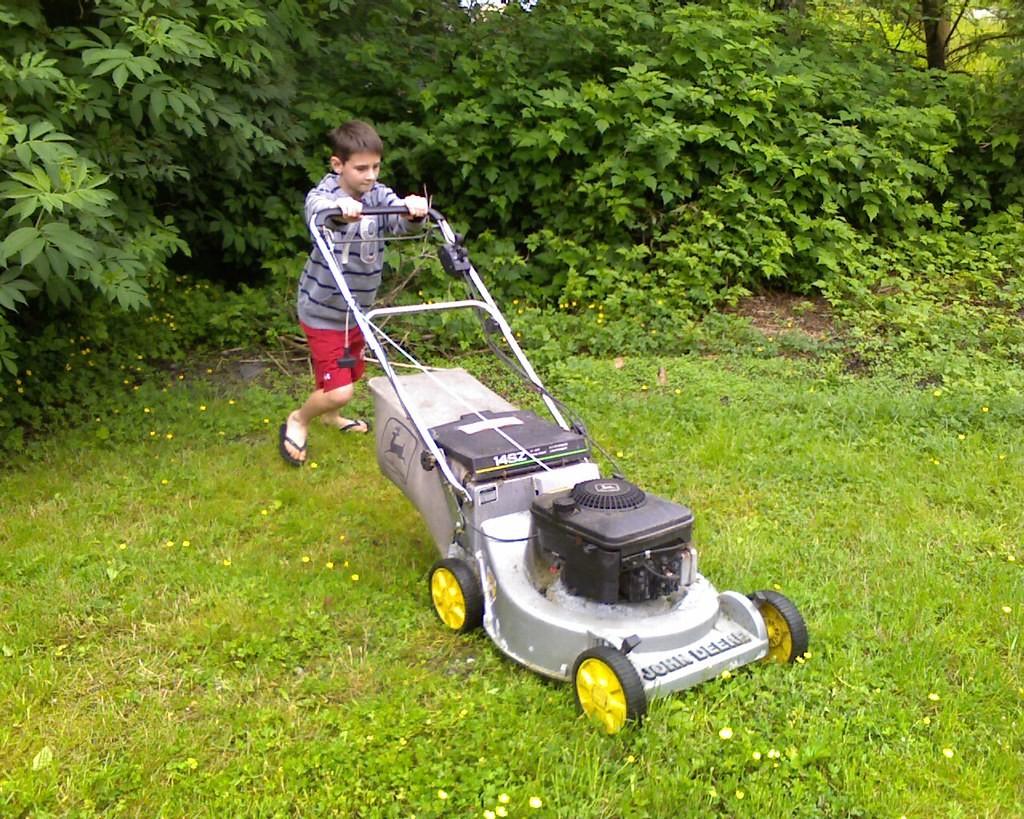 Summer job mowing lawns