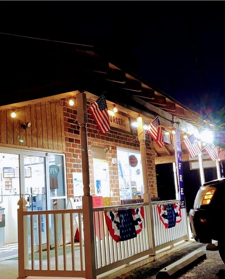 sense of community, covered porch, diner, patriotic decorations