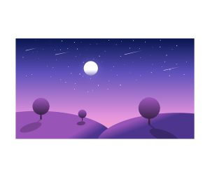 Perseid meteor showers, graphic art image of purple and blue night sky, moon and meteors