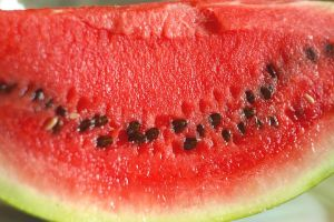 watermelon seeds, slice of melon with black seeds