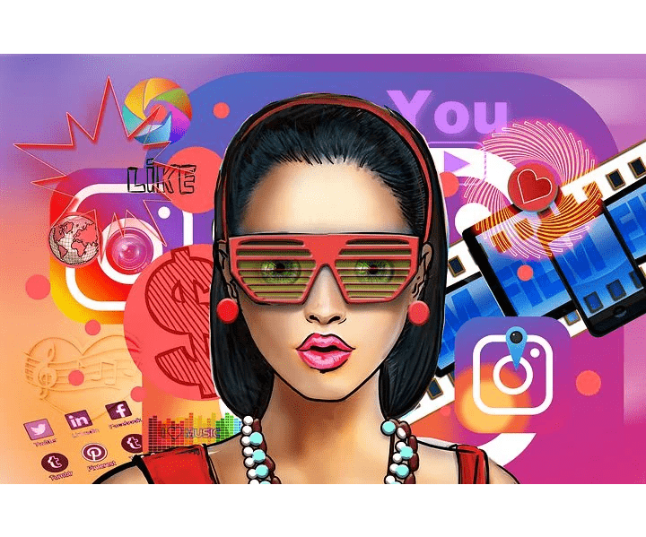make money, graphic of woman with 3D glasses on, random designs in background