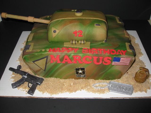Marcus S Army Tank Cake