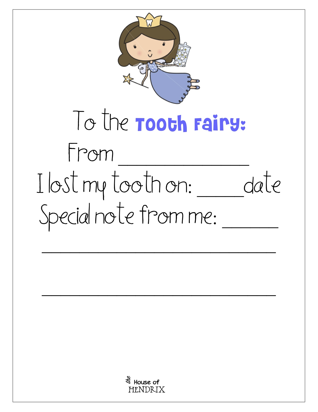 picture relating to Tooth Fairy Stationary titled Teeth Fairy -printables - The Household of Hendrix
