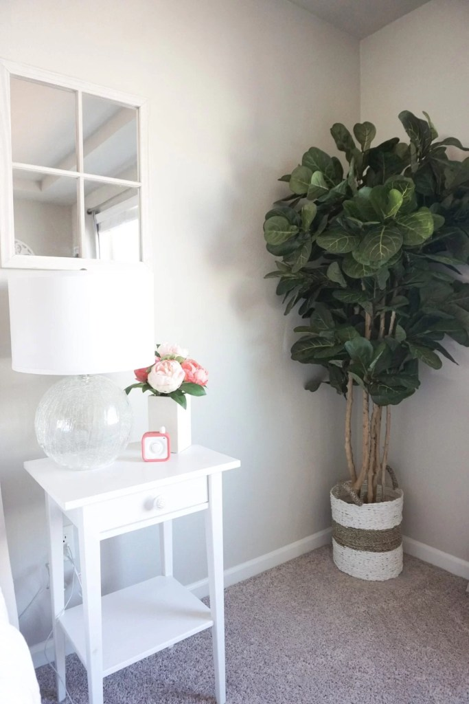 Blush accent master bedroom reveal, farm house style, fiddle leaf fig tree, white bedding, pops of pink, master bedroom tour